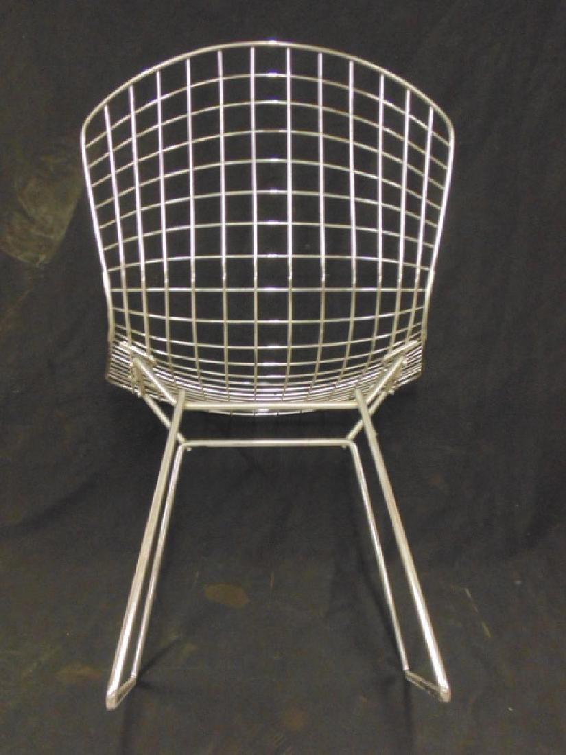 Set 4 Steel wire frame chairs by Bertoia - 5