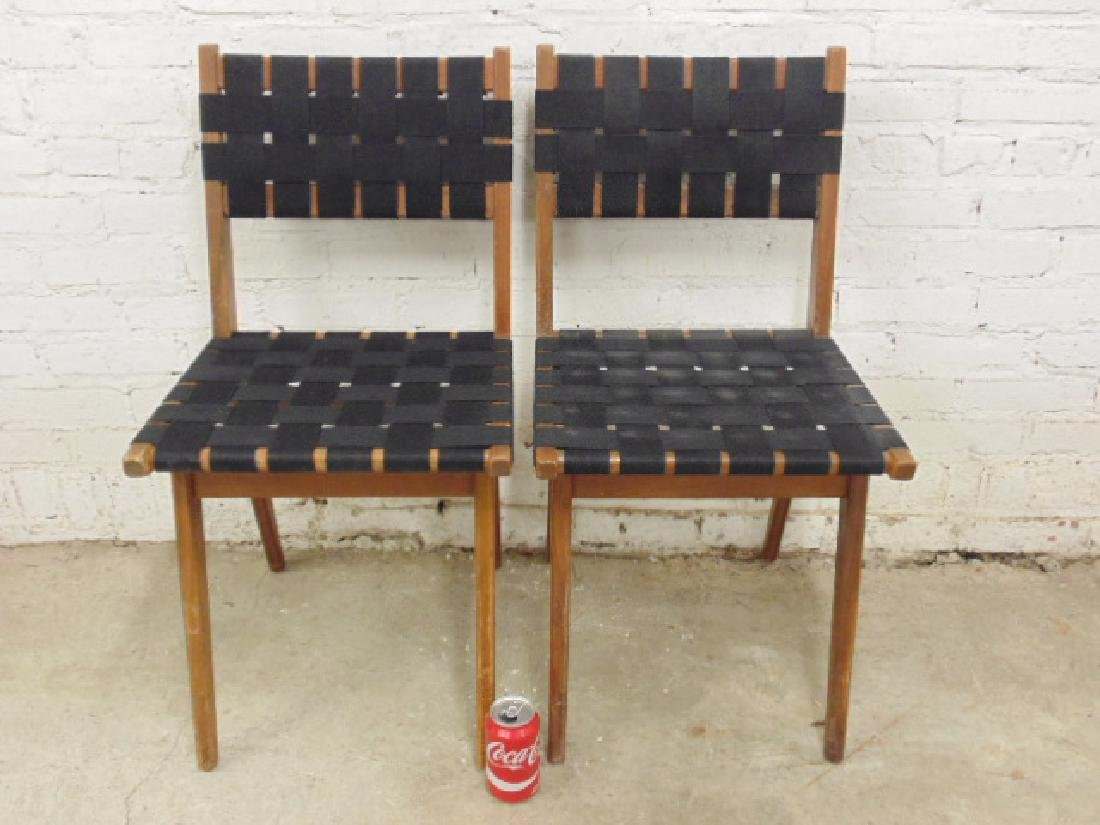 Pair Mel Smilow woven seat & back chairs