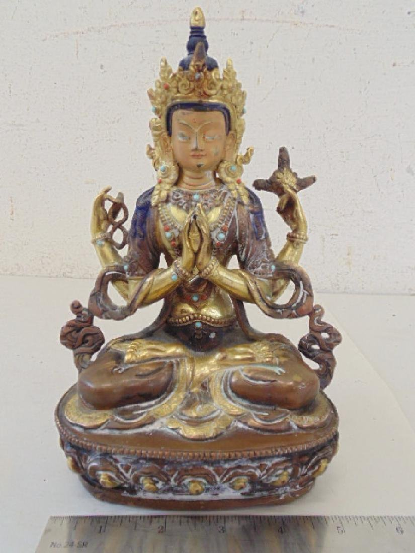Bronze paint decorated Buddha