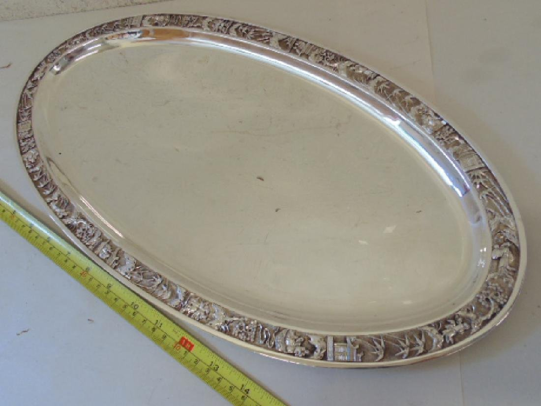 Chinese silver oval serving tray, 46 troy