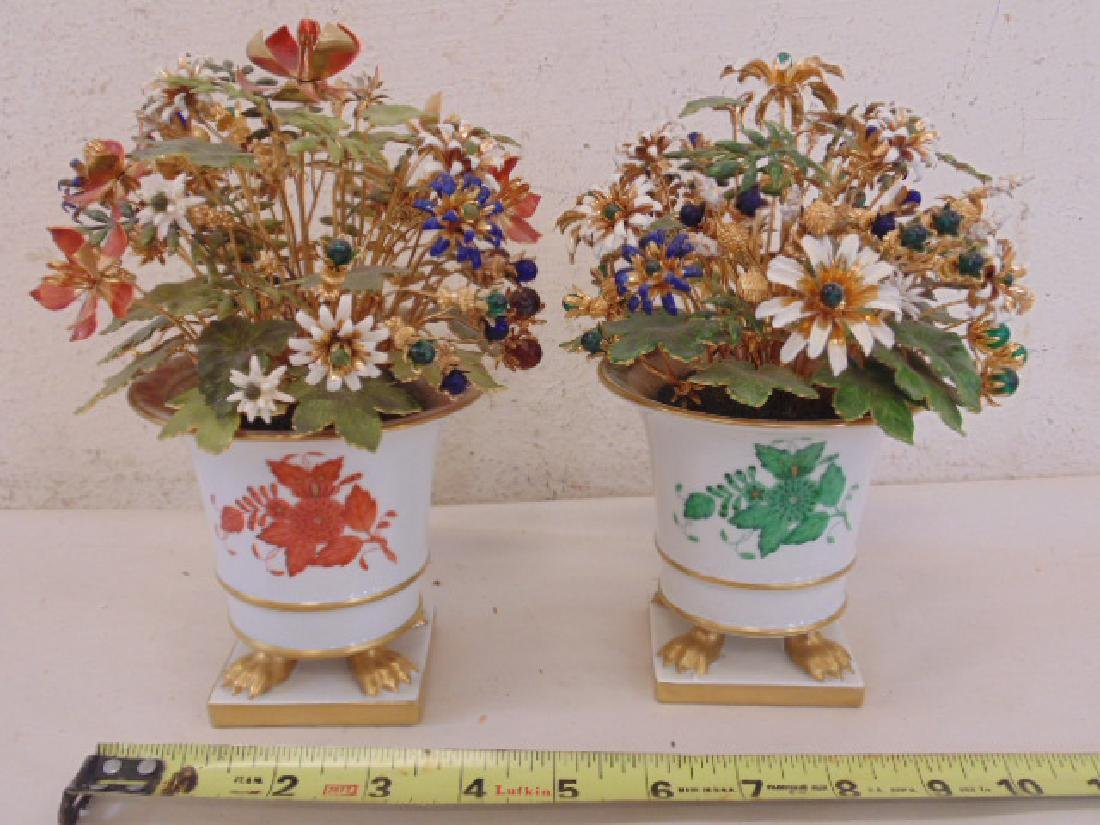 Pair Herend porcelain miniature planters