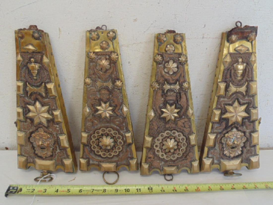 4 brass over wood decorative panels
