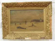 Painting, figures on a beach, early 20th Century,