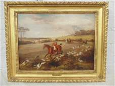 painting English hunt fox scene by F C Turner