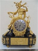 French bronze figural mantle clock, gilt bronze case