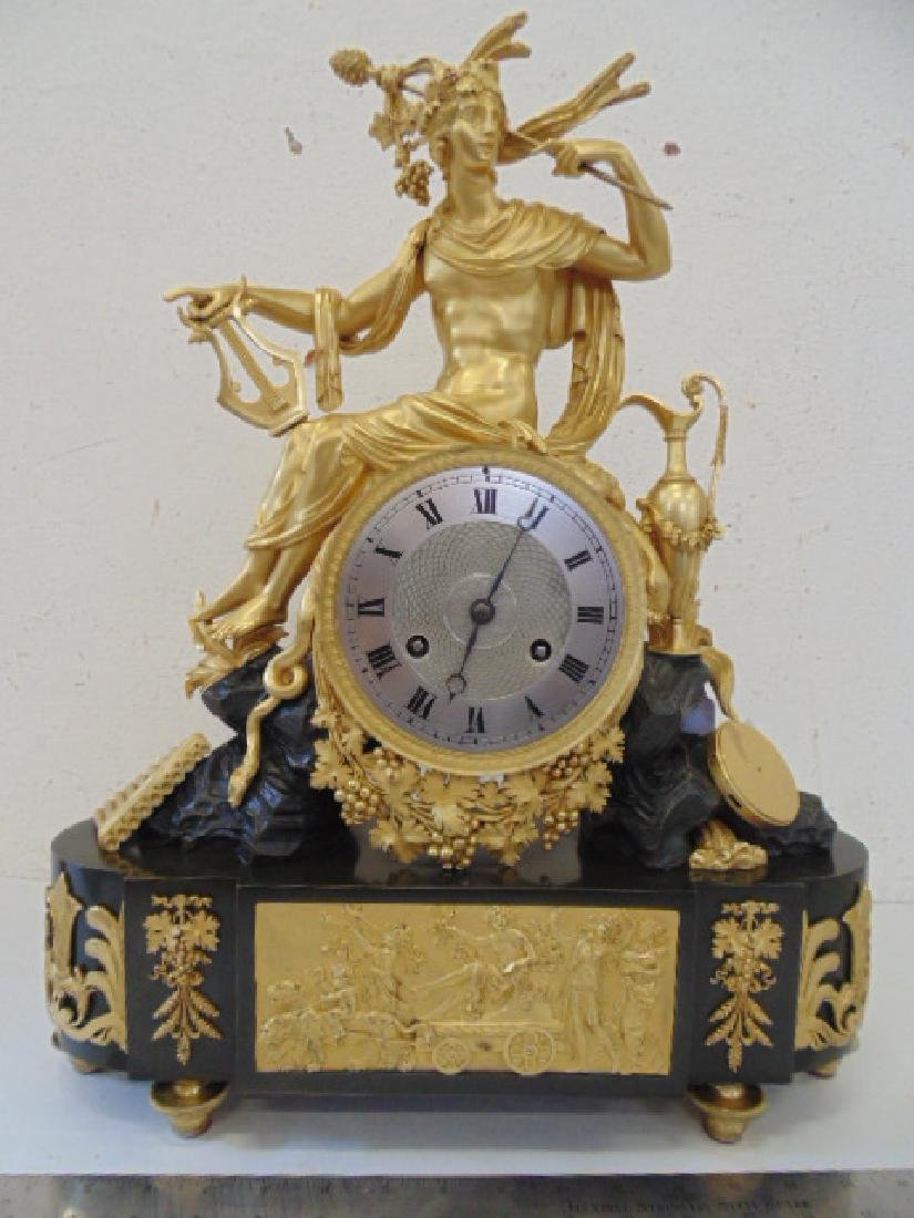 French bronze figural mantle clock, gilt bronze case