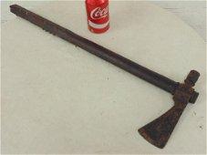 Early Indian tomahawk, wood, metal head