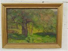 Painting, apple tree by fence, by Francis Miller