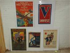 5 WW1 propaganda posters, various subjects, includes