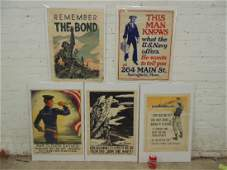 "5 WW1 propaganda posters, US, includes ""Remember the"