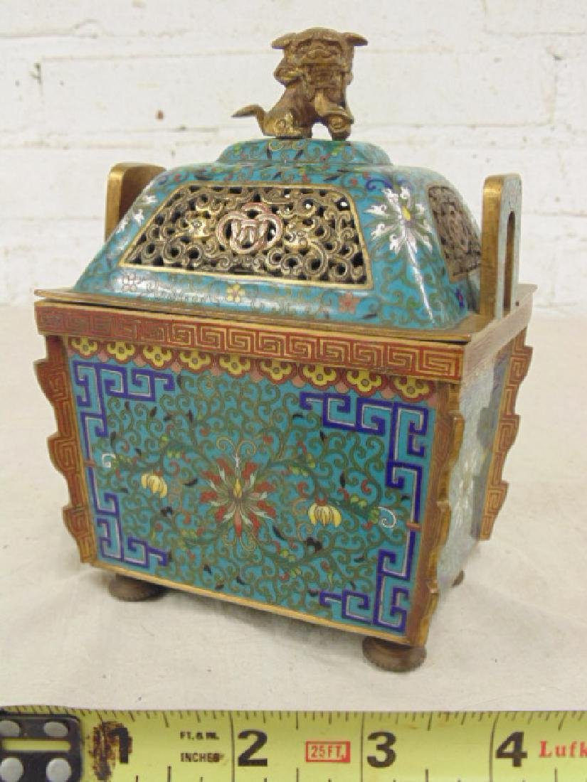 Japanese bronze cloisonne incense holder