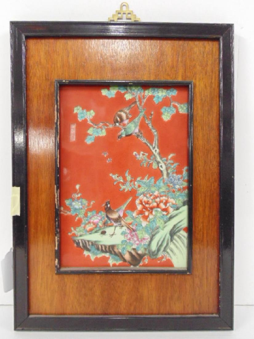 Chinese porcelain plaque, birds, insect