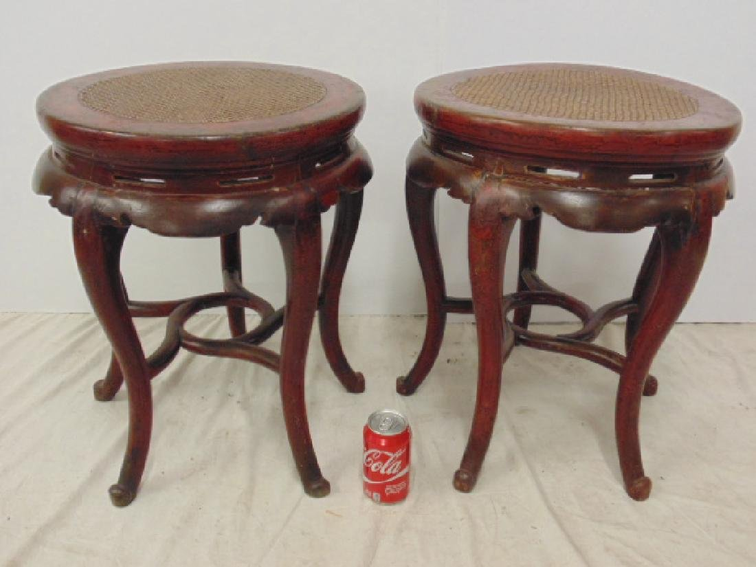 Pair Chinese red painted stands