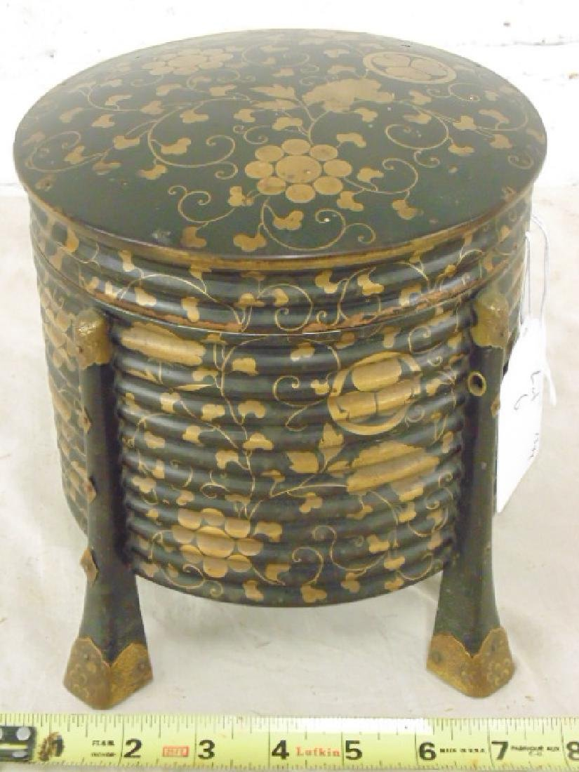 Black & gilt lacquered Japanese cylindrical box
