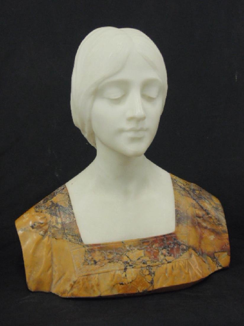 Marble bust of a young woman Emilio Fiaschi