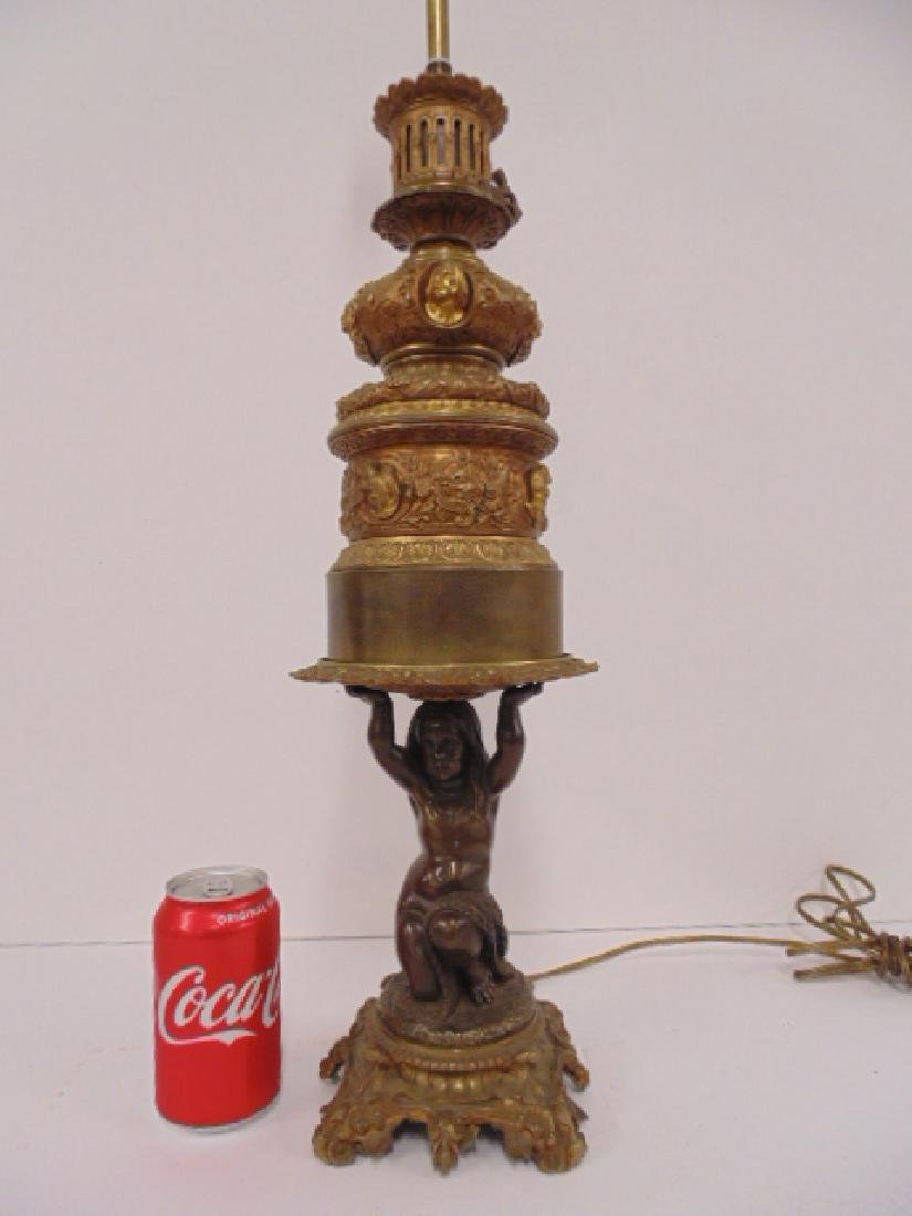 Bronze table lamp , figural base, 19th Century