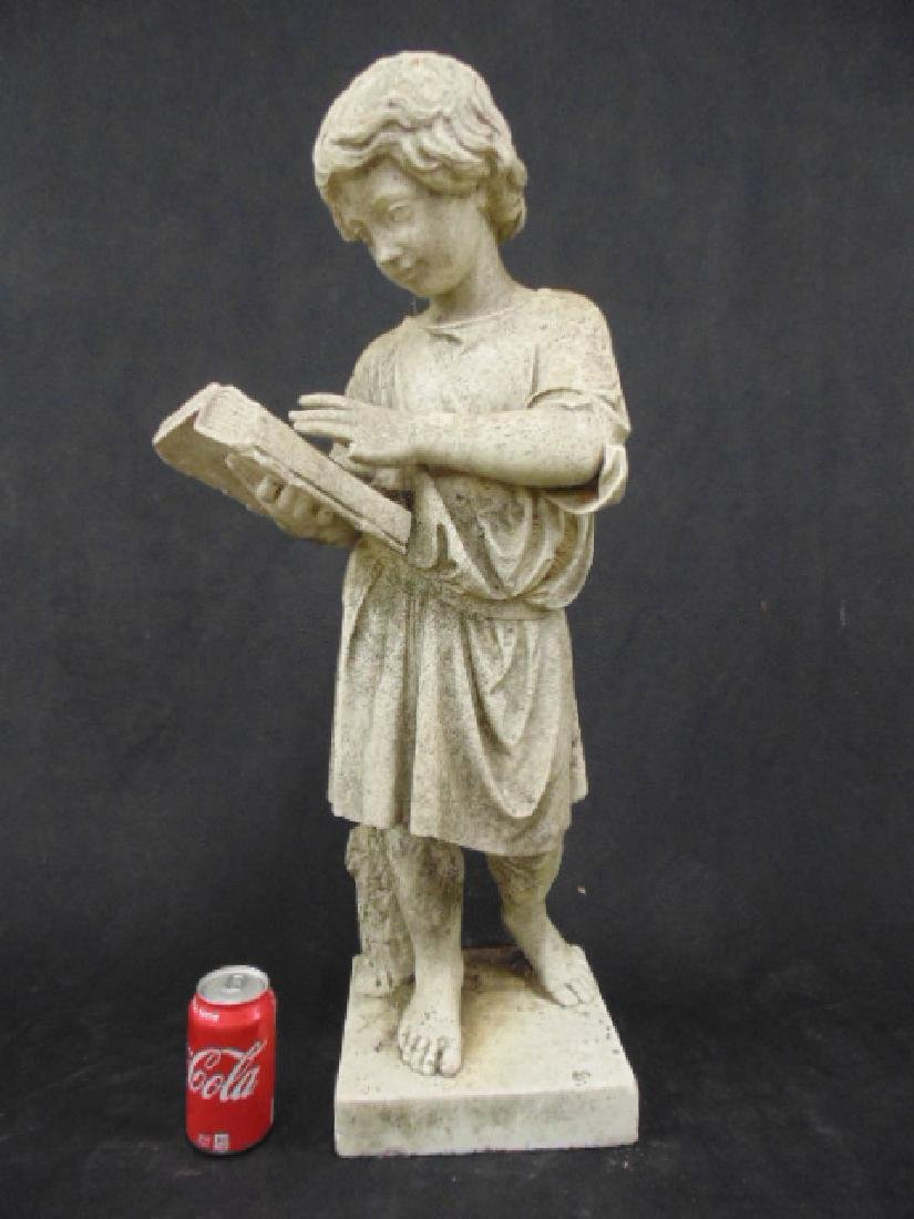 Carved marble statue, boy reading book