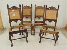 Set 4 carved oak Horner dining chairs, carved lions