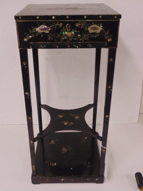 Inlaid Chinese sewing stand, based on European form