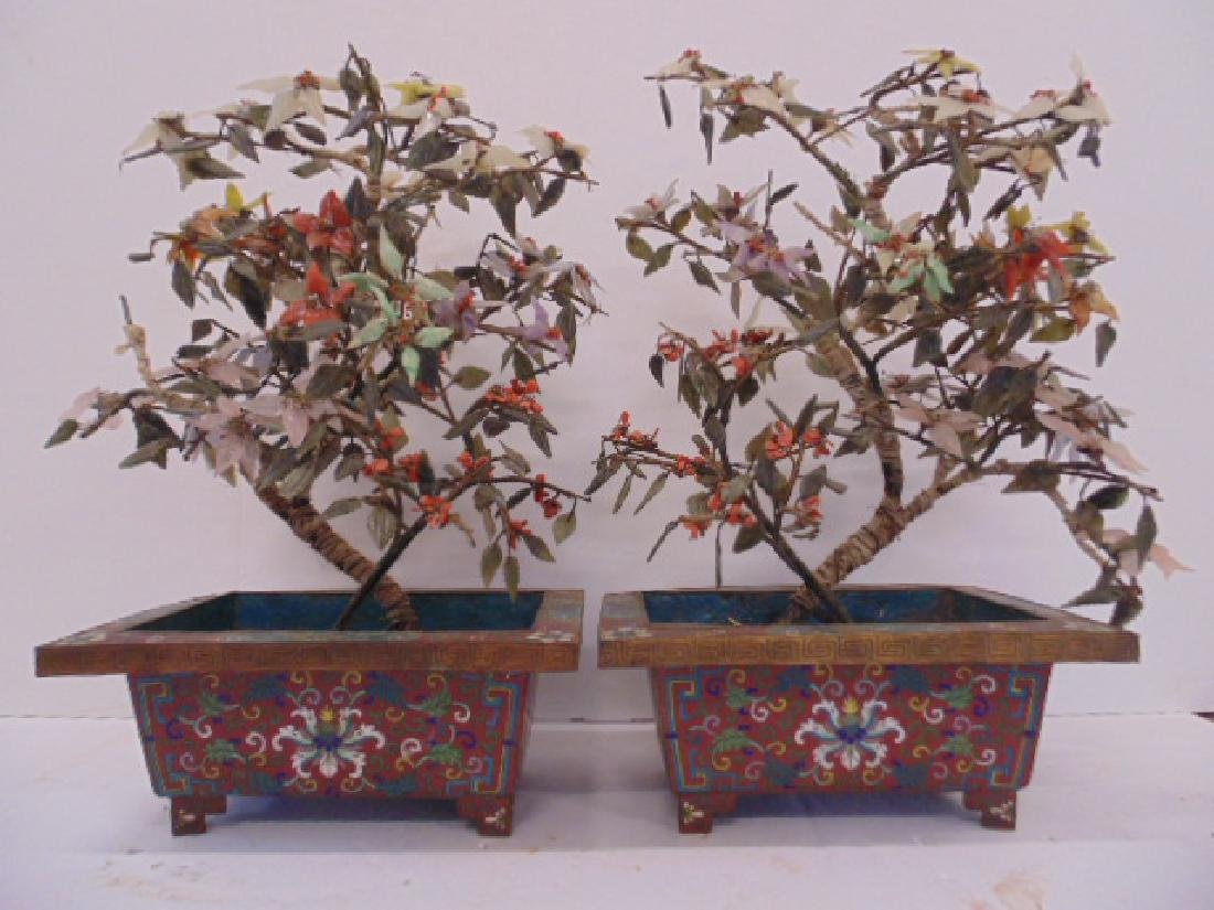 Pair Asian jade trees in cloisonne planters