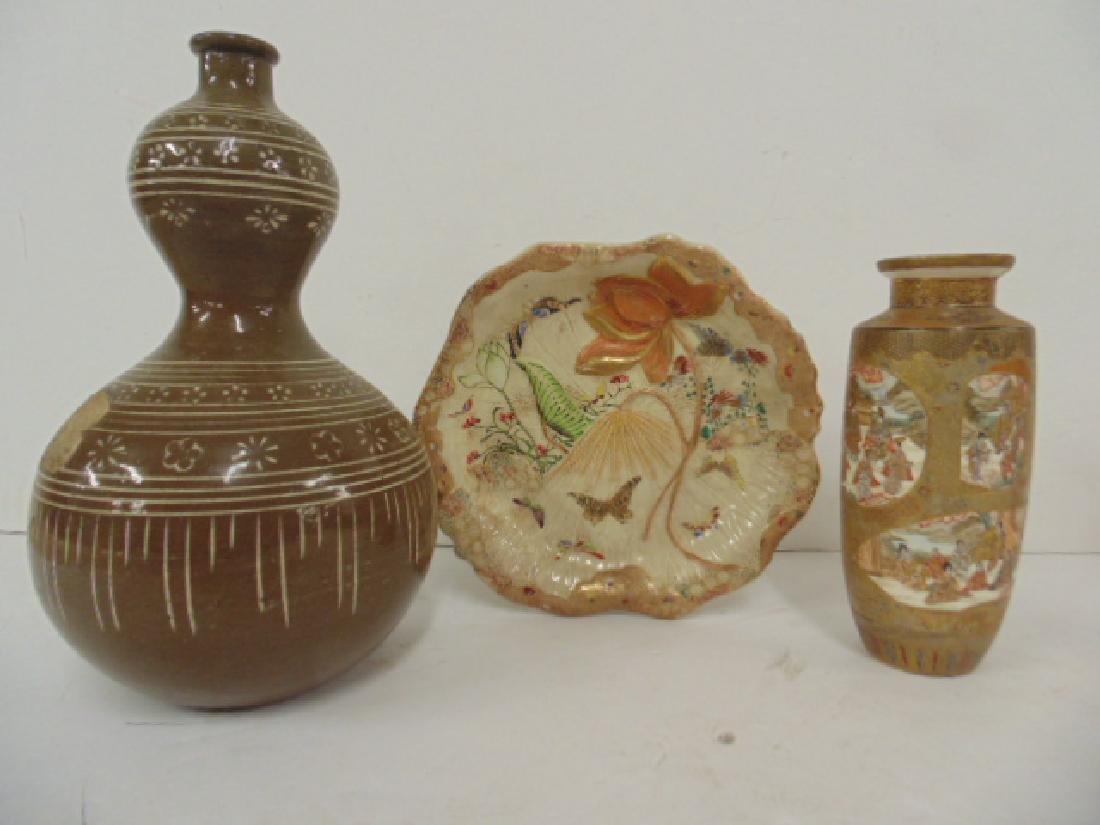 3 Asian ceramic pieces, Satsuma vase, Japanese dish