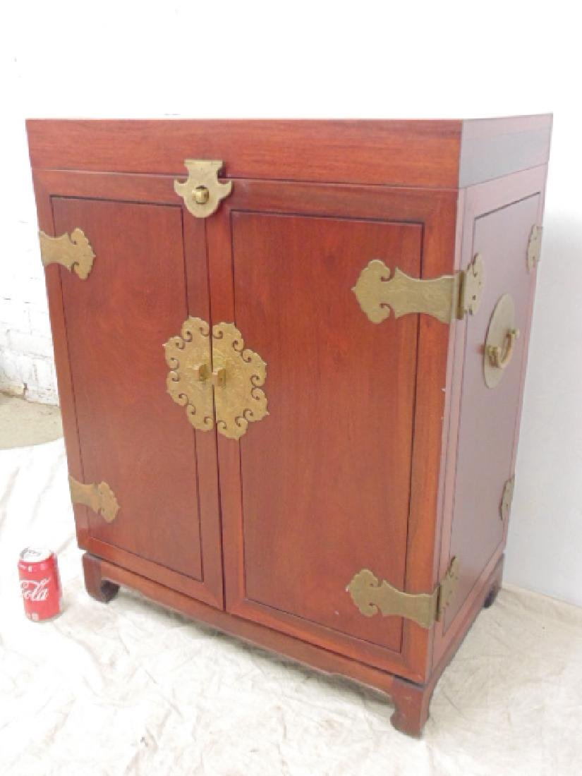 Chinese mahogany silk lined silver cabinet