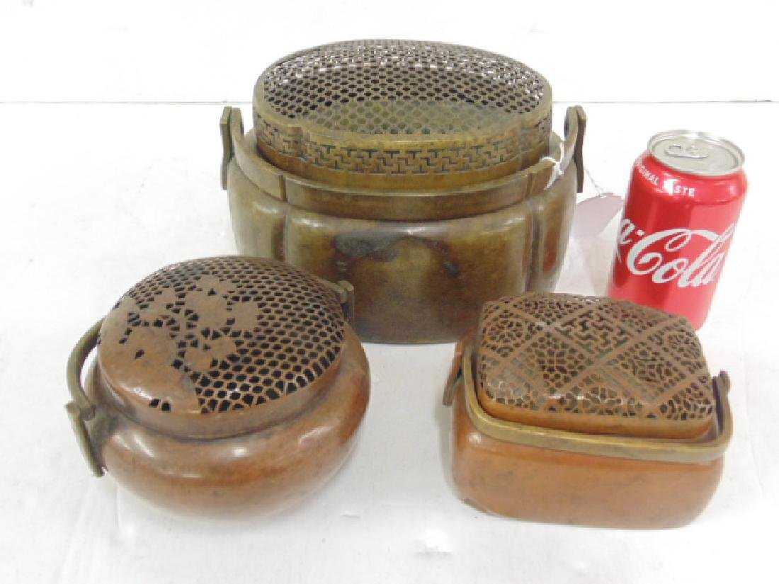 Lot 3 antique copper Chinese hand warmers