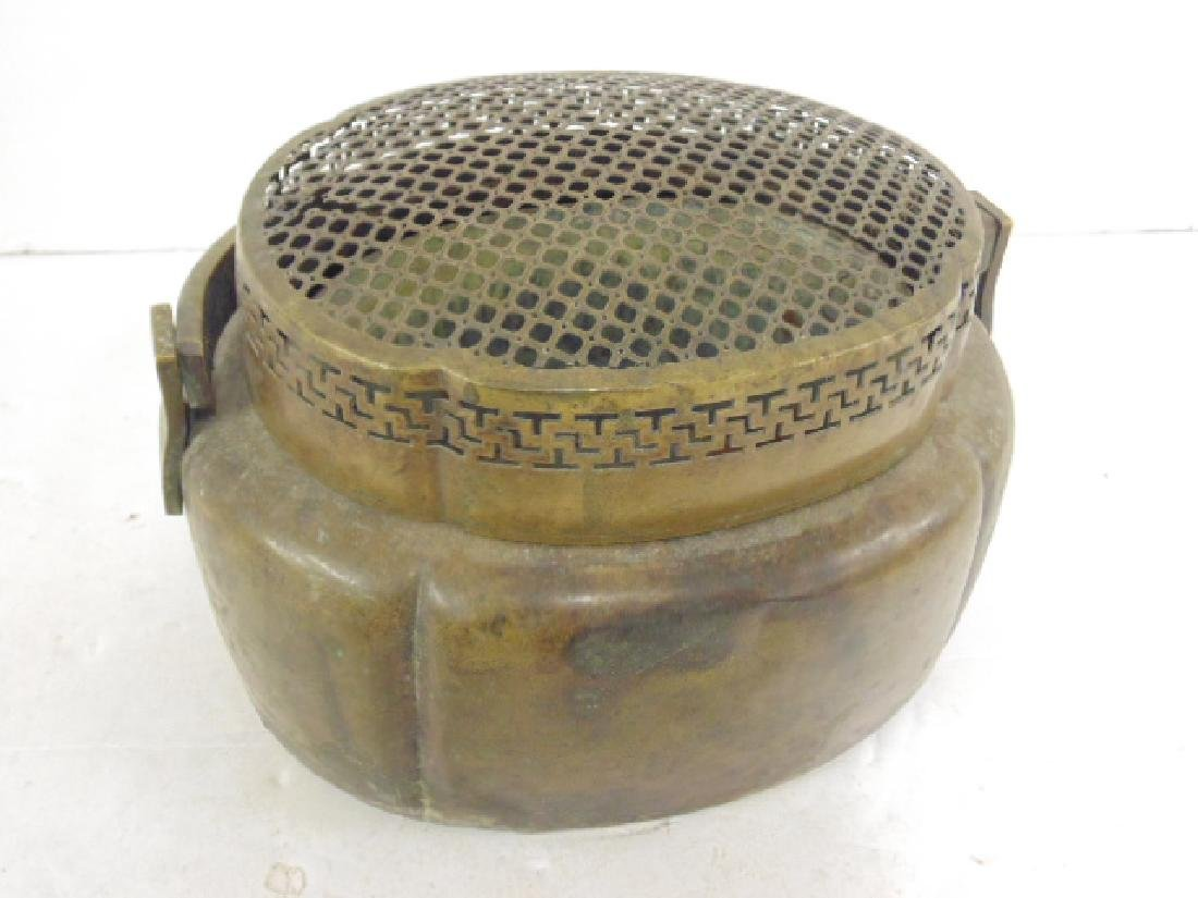 Lot 3 antique copper Chinese hand warmers - 3