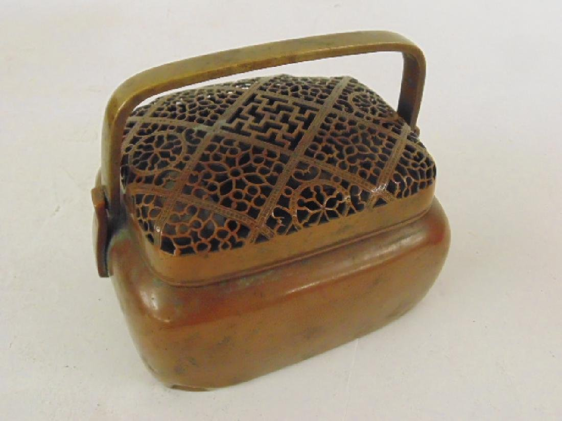 Lot 3 antique copper Chinese hand warmers - 4