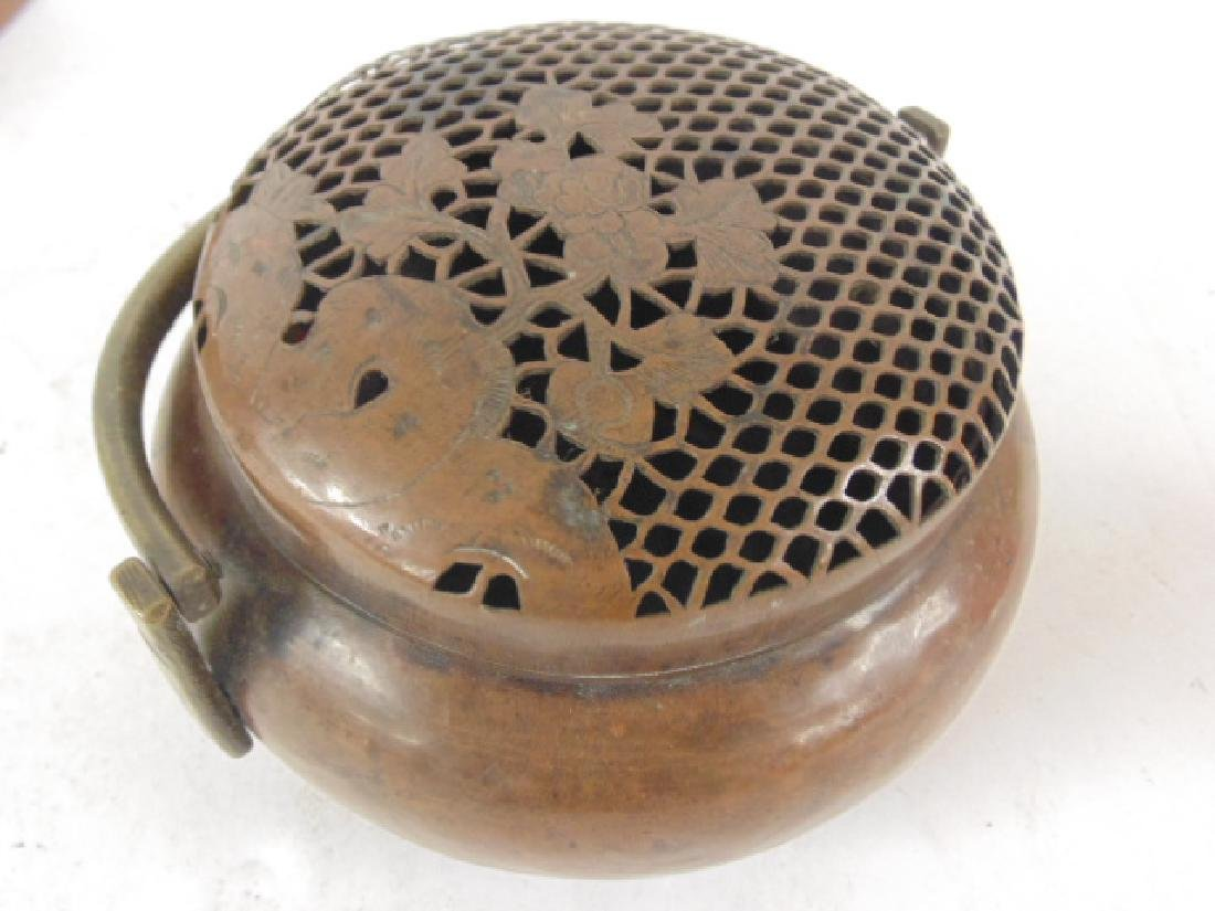 Lot 3 antique copper Chinese hand warmers - 5