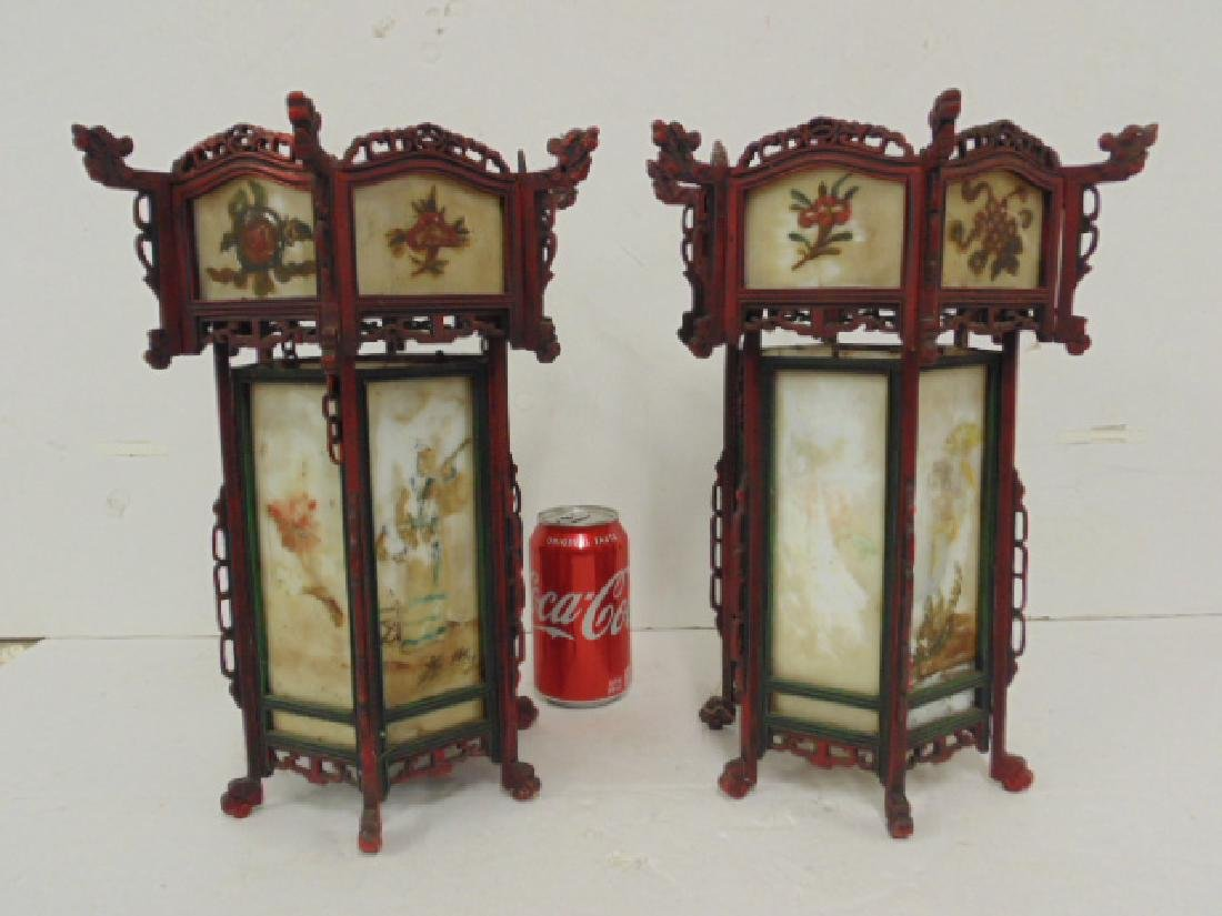 Pair Chinese iron & painted milk glass panel lanterns