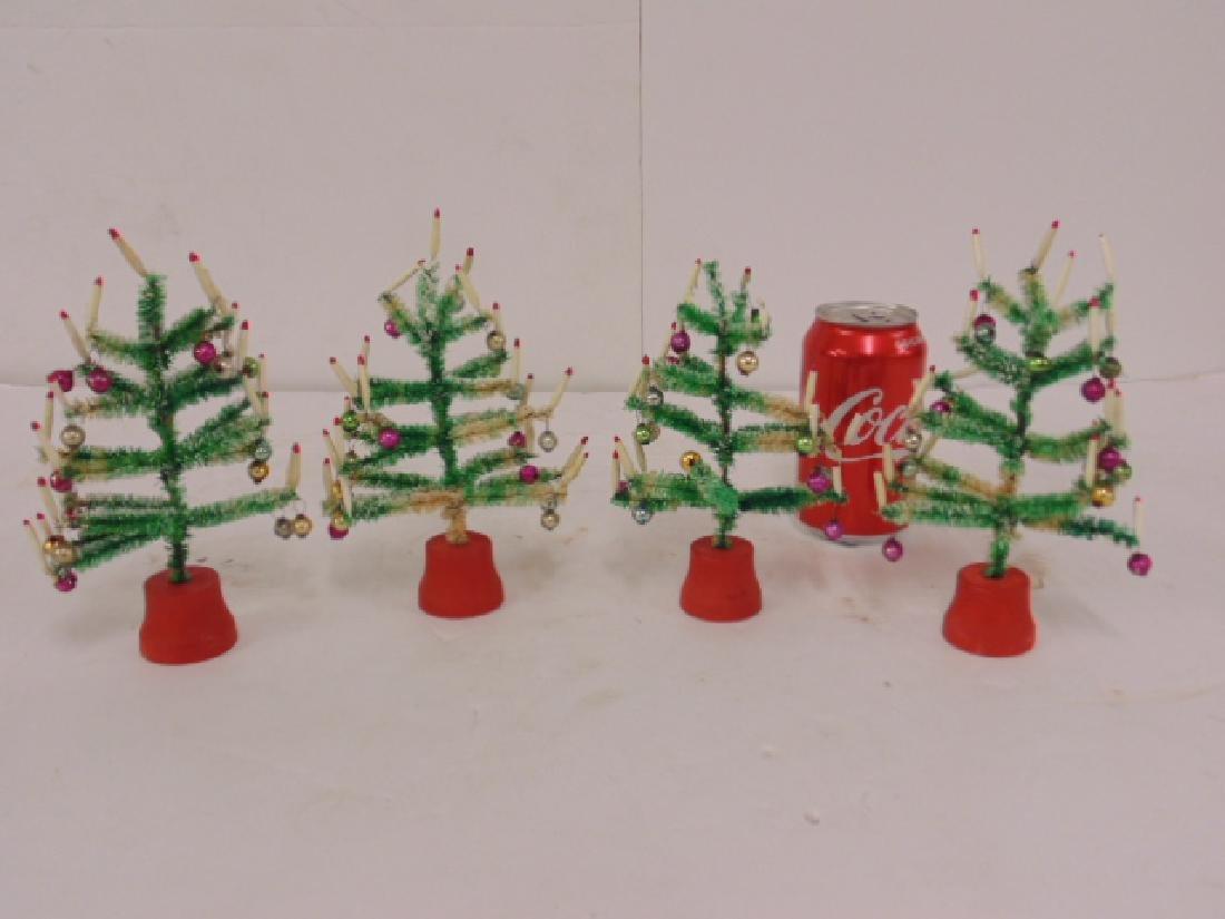 "Lot 4 miniature Christmas trees, 6.5"" tall"