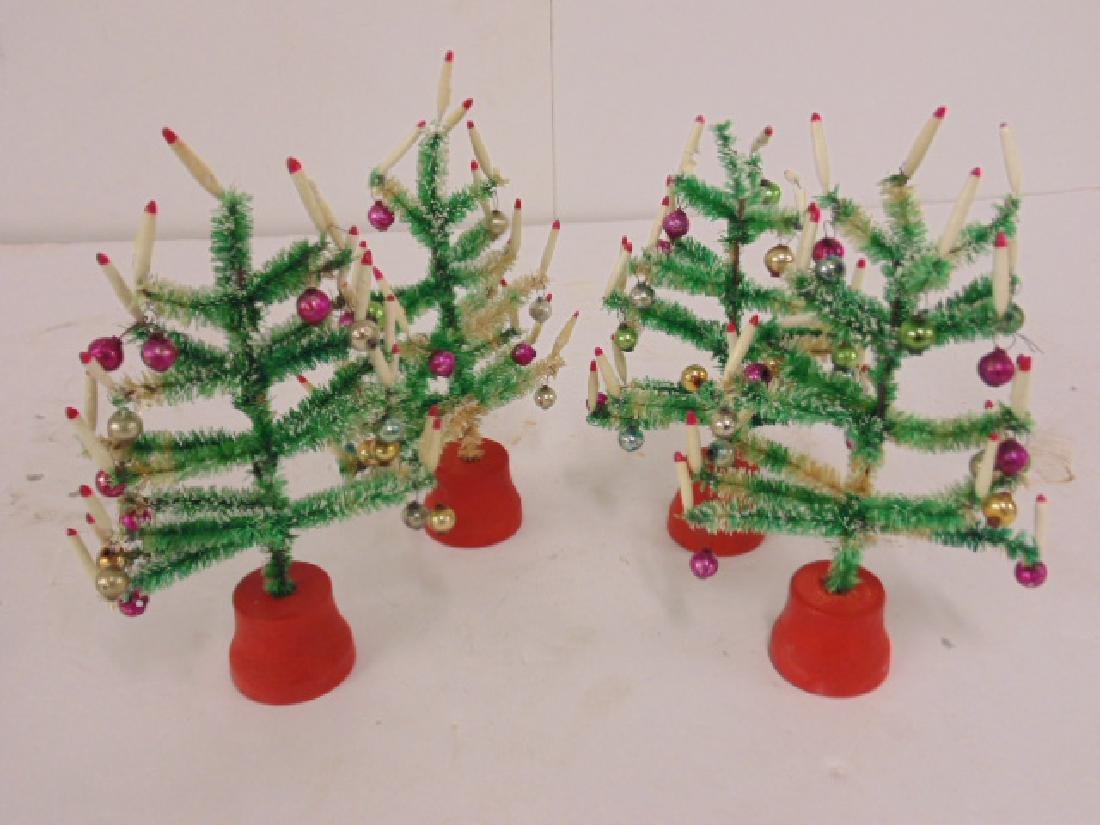 "Lot 4 miniature Christmas trees, 6.5"" tall - 2"