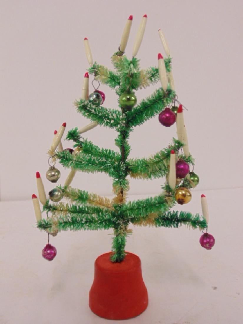 "Lot 4 miniature Christmas trees, 6.5"" tall - 3"