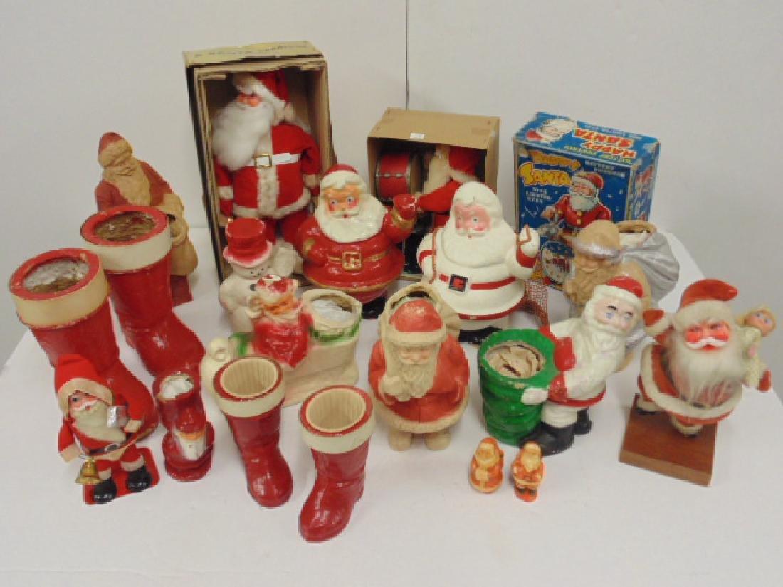 Large lot vintage Santa, Christmas figures, paper Mache