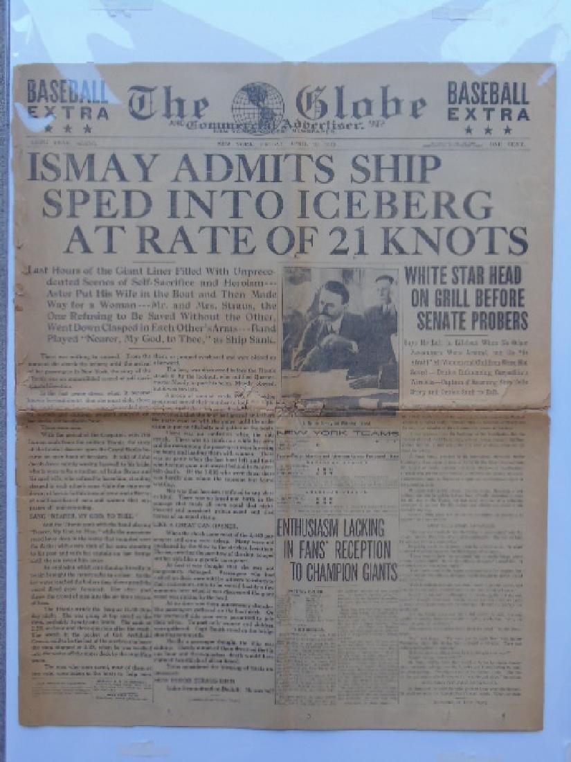 "Newspaper, ""The Globe"", Titanic aftermath headlines"