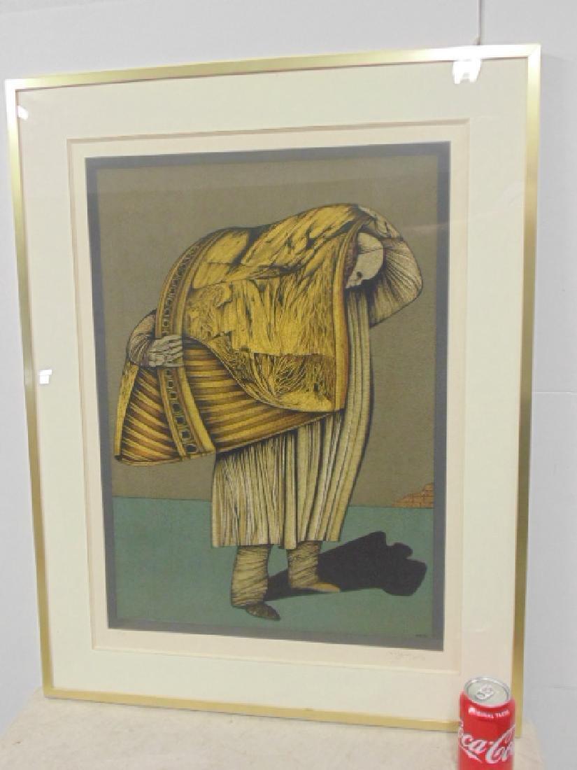 """Lithograph, figure, """"M.W. 76, signed Che Miaz Ine"""
