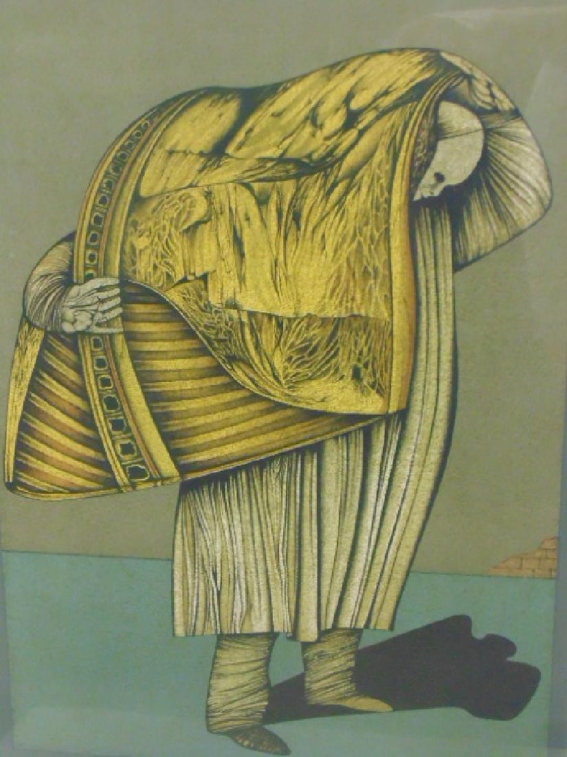 """Lithograph, figure, """"M.W. 76, signed Che Miaz Ine - 2"""