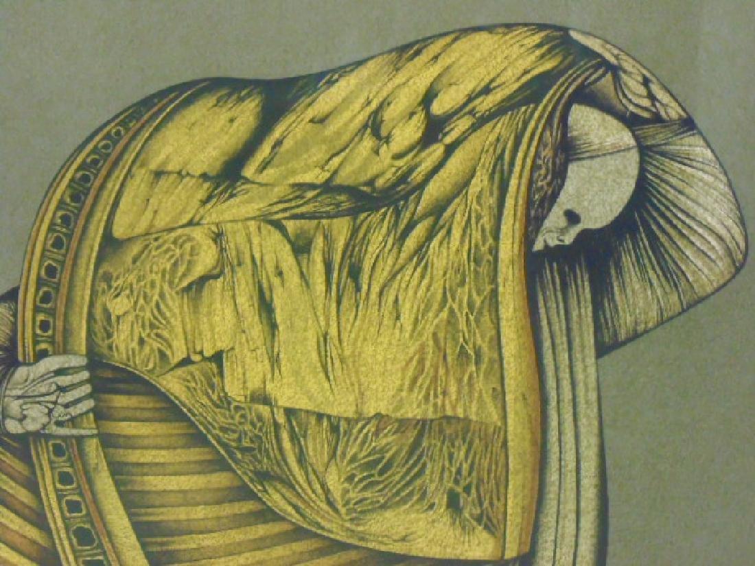 """Lithograph, figure, """"M.W. 76, signed Che Miaz Ine - 3"""