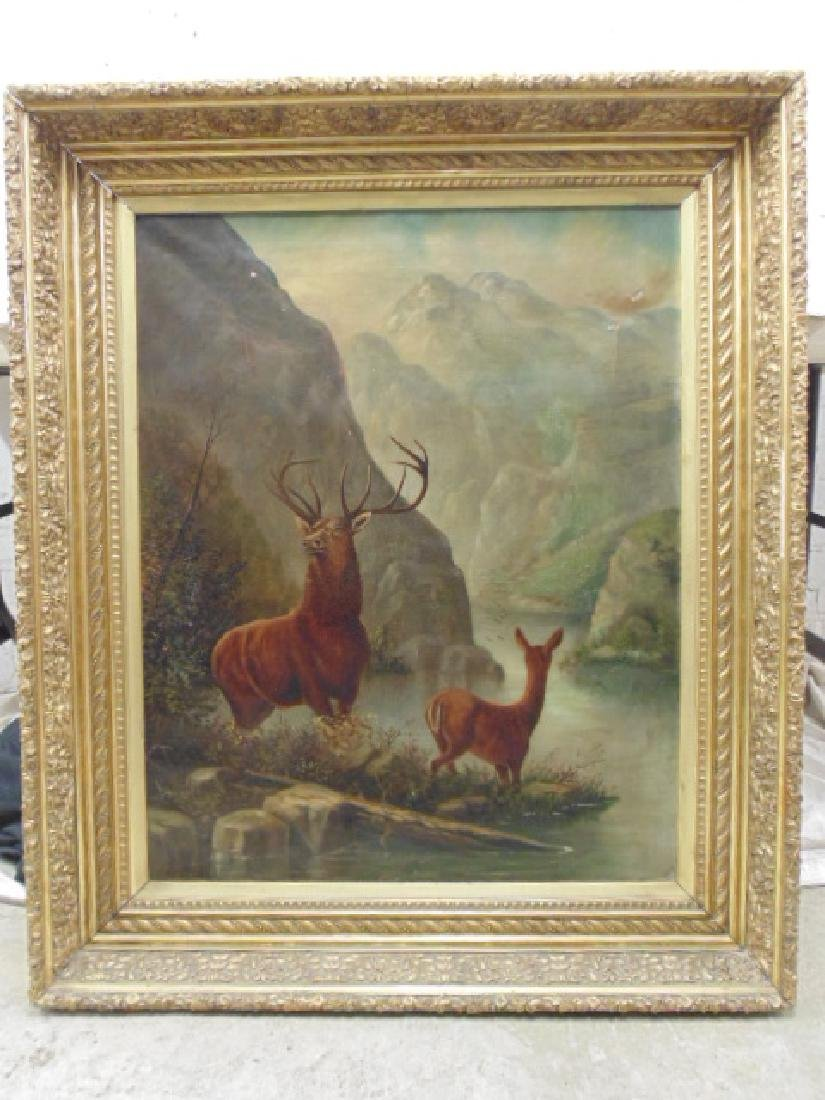 """Painting, """"Buck and Doe"""", unsigned"""