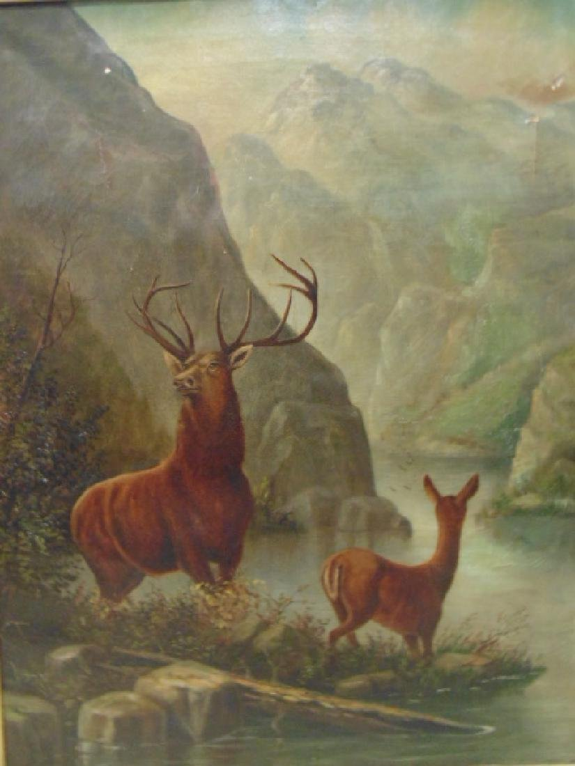"""Painting, """"Buck and Doe"""", unsigned - 2"""