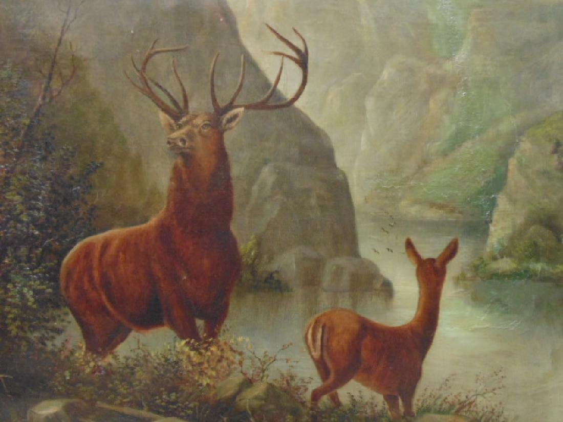 """Painting, """"Buck and Doe"""", unsigned - 3"""