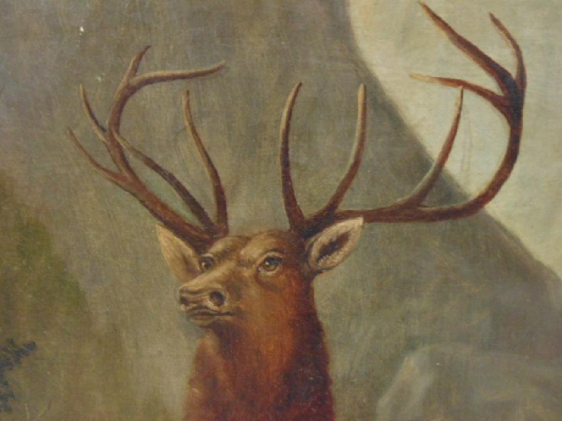 """Painting, """"Buck and Doe"""", unsigned - 4"""