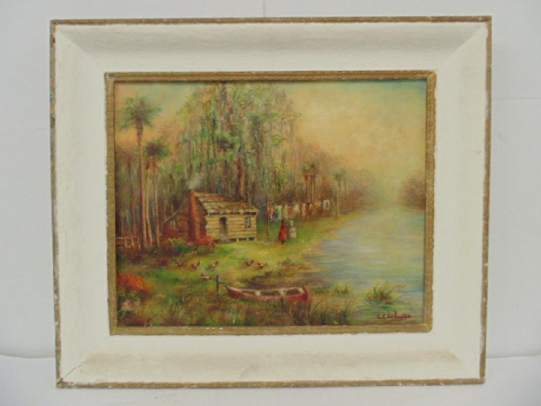 Painting, southern, swamp, palm trees, by E.C. Schulte