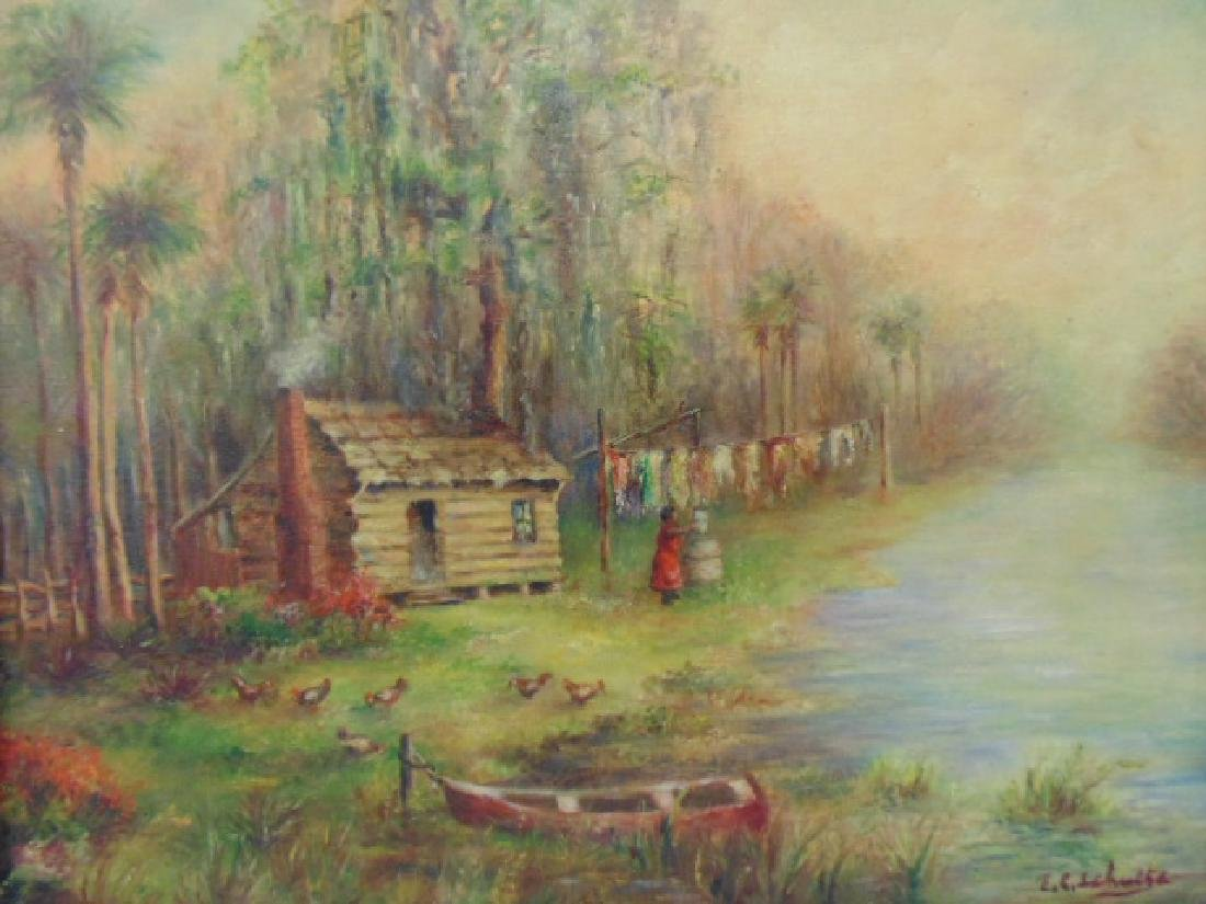 Painting, southern, swamp, palm trees, by E.C. Schulte - 2