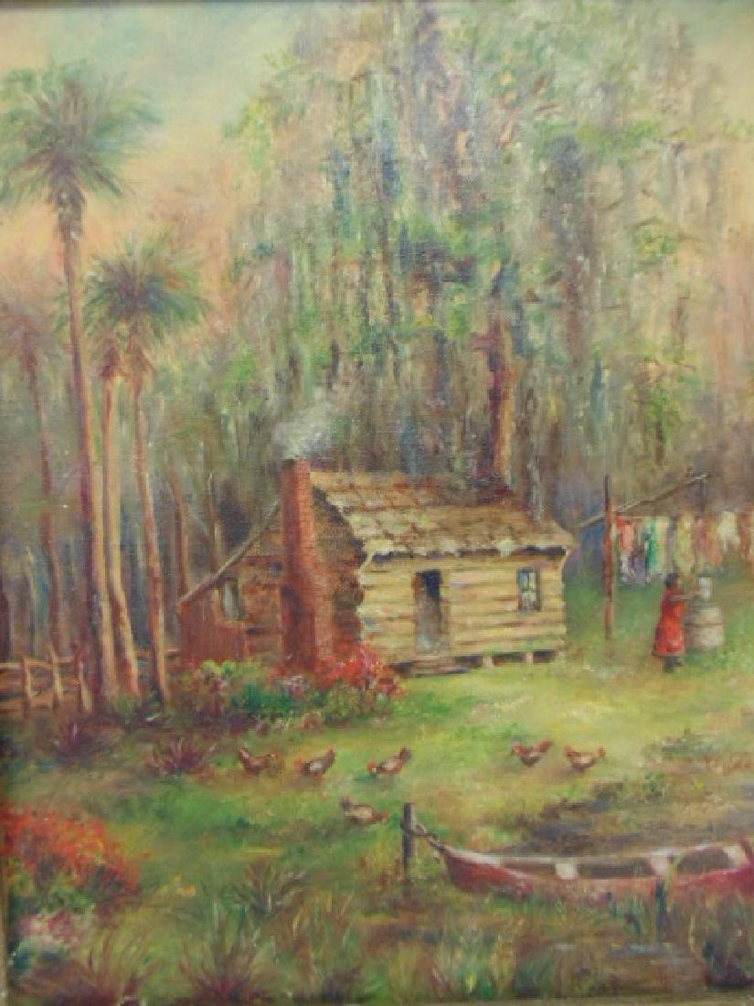 Painting, southern, swamp, palm trees, by E.C. Schulte - 4