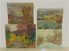 4 small oils autumn landscapes signed Louise Mary