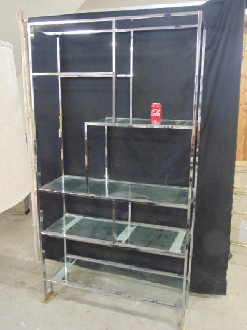 Chrome etagere, glass shelves