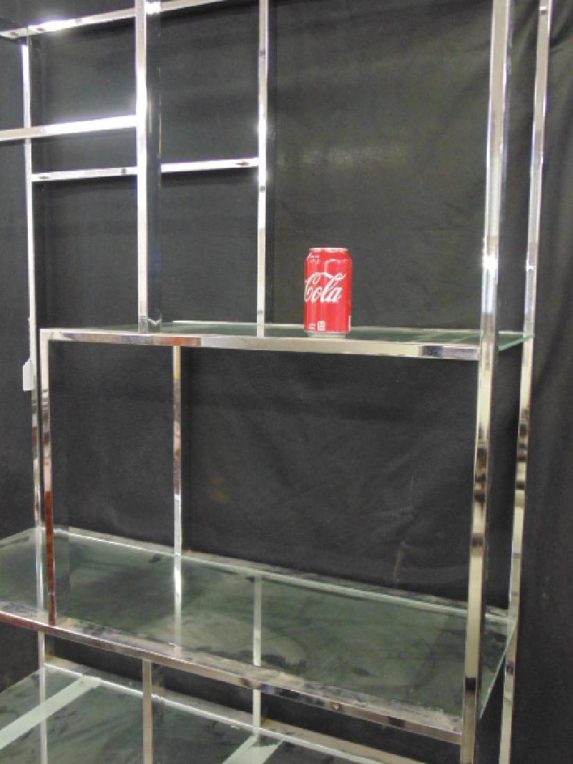 Chrome etagere, glass shelves - 2
