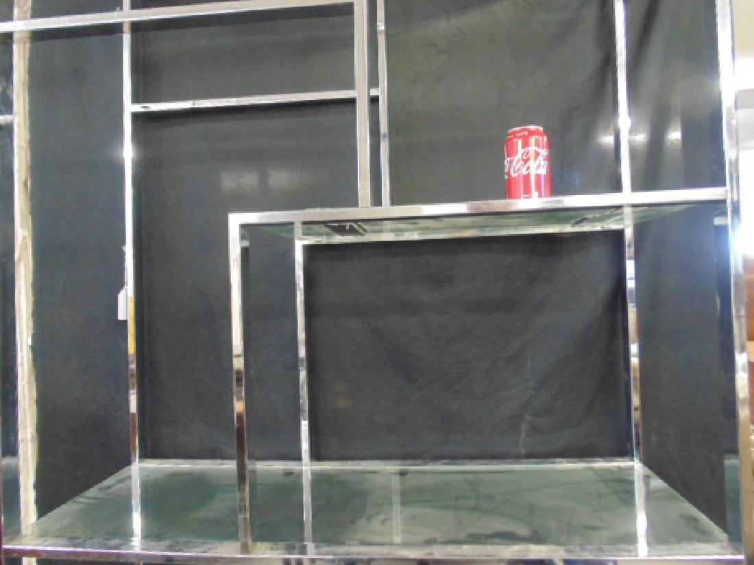 Chrome etagere, glass shelves - 3